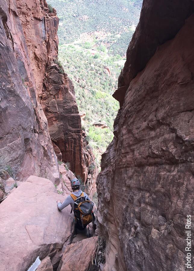 Top of the big downclimb