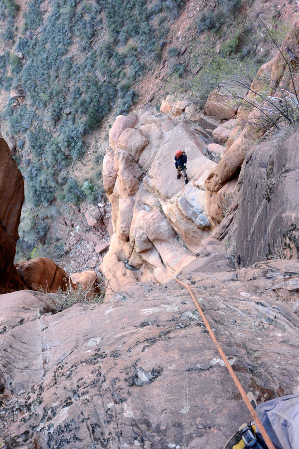 The Exit - Follow game trails down and left, past a small waterfall to the main canyon. Find a discrete way to get to the road, then follow the road to the back of Zion Lodge. You are walking through employee housing—please respect the resident's privacy as much as possible.
