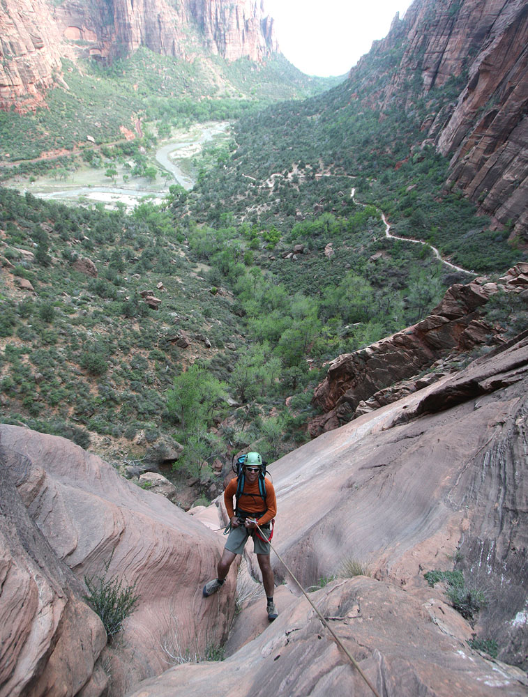 Getting there - From the Grotto shuttle stop, head up the West Rim/Angels Landing Trail to the bridge crossing Refrigerator Canyon. Backtrack a few feet and drop into the watercourse where it can be done with zero impact. Move downcanyon a bit, then gear up. Allow 30 minutes for the approach.