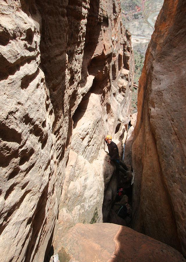 Jonathan starting down the downclimb