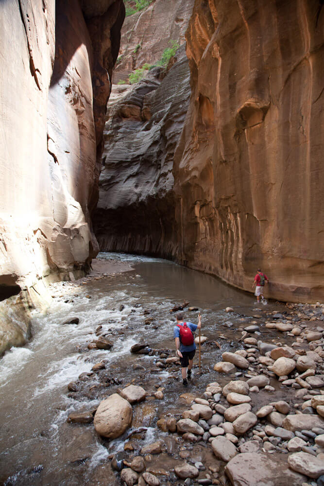 Author's Experience - The Narrows hike was my very first Zion canyon, in October 1986, bottom up. Without anything warm on my feet, however, I did not get very far. After moving to Utah, a top-down Narrows run with fellow BDer Stan Brown was my new intro to Zion, circa 1996. Since then, I have spent a lot of time in the Narrows, mostly while exiting technical canyons and mostly at night, but have hiked it as a backpack trip twice, and as a one-day run-through maybe only one more time. It is still a favorite place to wander up on a hot summer day.***The Narrows is a beautiful and popular hike, but hikers must be aware of floods.The river floods regularly; here are some stories of hikers caught in flash floods.***From Zion: Canyoneeringby Tom Jones:September 17, 1961 – Flood in the Zion NarrowsThunderstorm-induced flooding produced the largest flood recorded in 25 years. Unfortunately, it found 26 members of the Scotowa Expedition hiking the North Fork Narrows. Twenty-one eventually walked out, but five were swept to their deaths.September 5, 1965 – Flash Flood in the Zion NarrowsLabor Day weekend, 1965, found parties from Los Angeles, Provo and Salt Lake City enjoying overnight trips in The Narrows. Massive rains early Sunday morning flooded the canyon. Over the next two days, all 42 hikers eventually made it to safety, but only after many anxious moments, making their way down the flooded river.June 3, 1973 – Search and Rescue in The NarrowsAfter 32 hours, a three-man scuba rescue team located stranded hikers Bob and Harry Pattison in the depths of a very flooded Zion Narrows. Stranded for 5 days, the Pattison's had found high ground and stayed put, though by the time rescue arrived they were cold and hungry. Evacuation down the river was effected with the assistance of a rubber raft and ropes.1992-437 - Zion (Utah) Rescue – The Zion NarrowsJust after 1:00 p.m. on August 11th, Michael N. of El Toro, California, reported that his wife, 47, and his son and two daughte