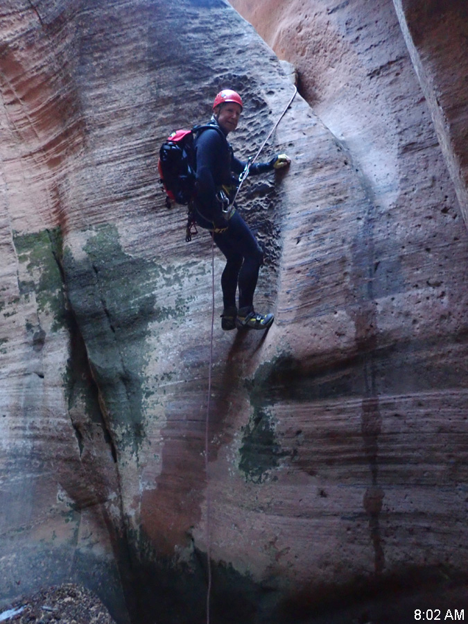 Tim Hoover on the first rappel