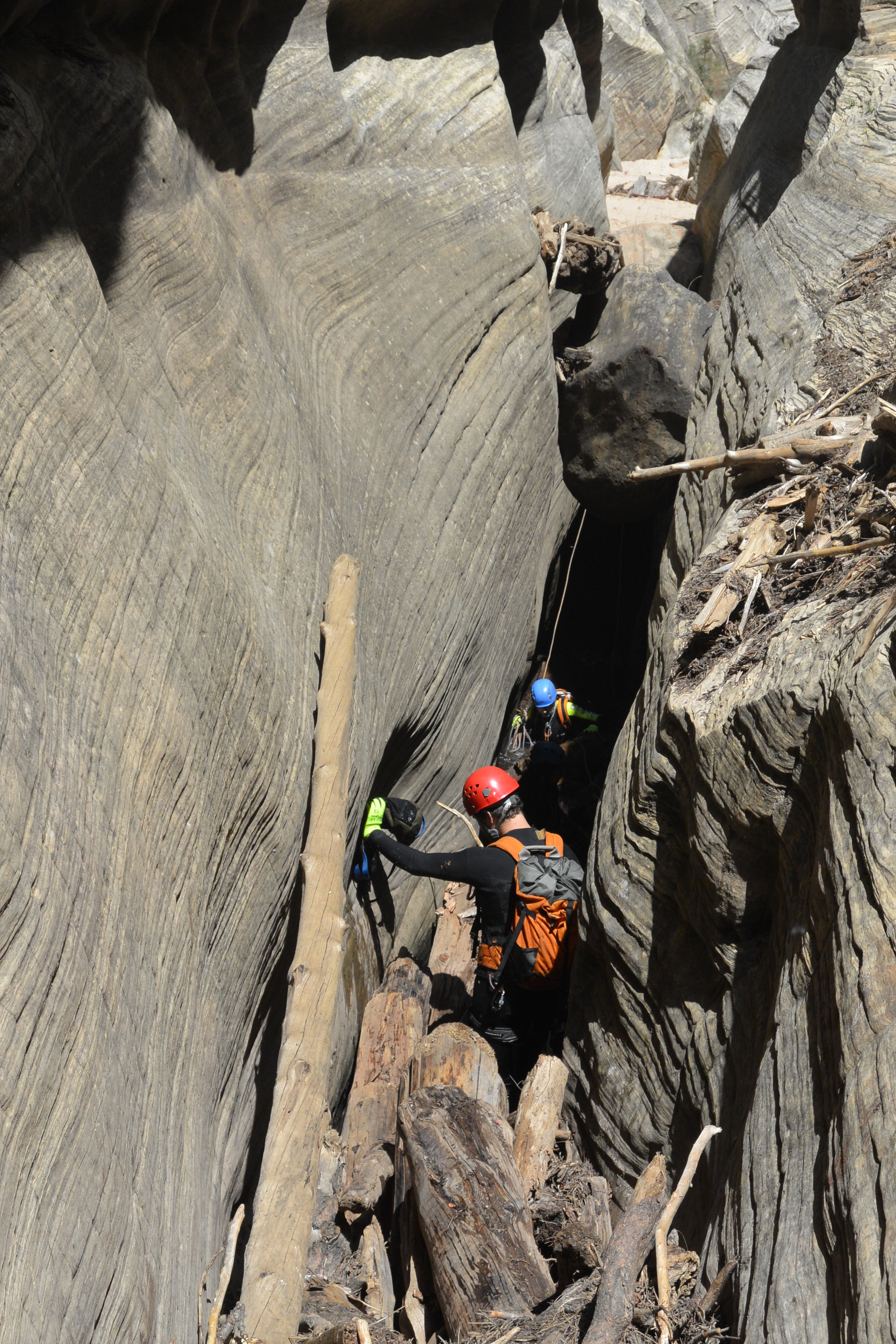 Climbing unstable log jams.