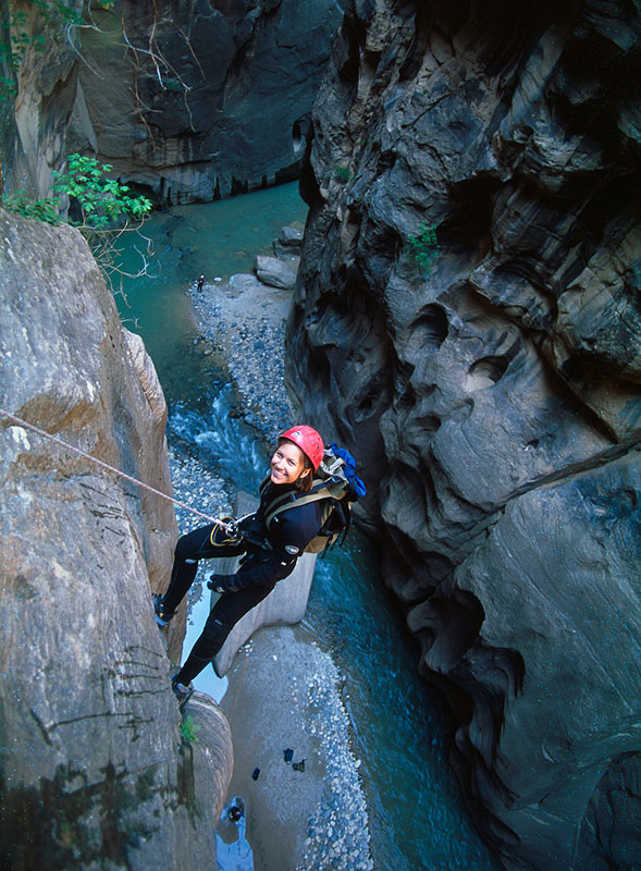 Denise Manweiler rapping into the Narrows.