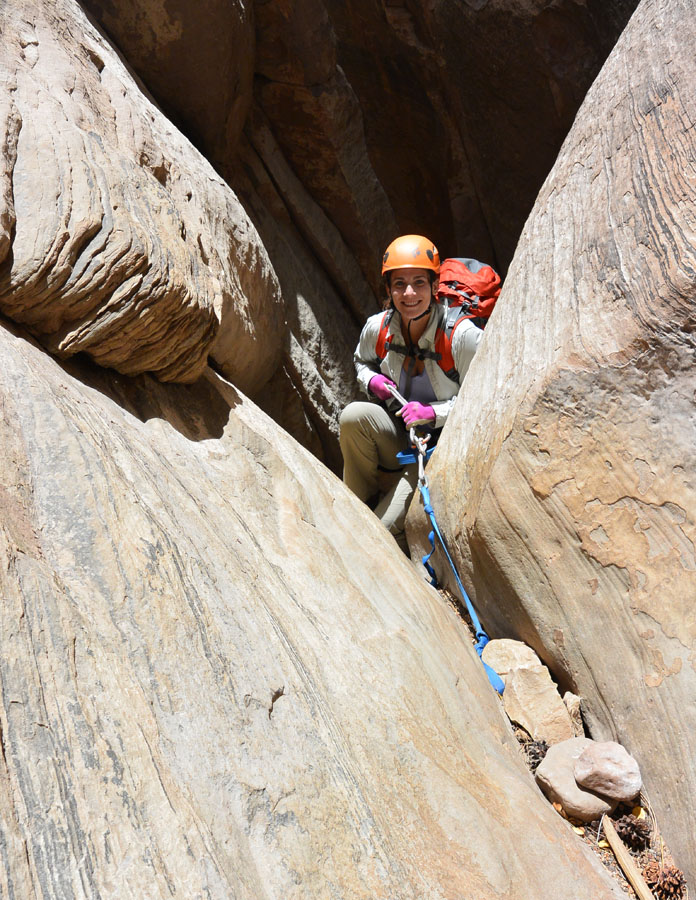 Anna Rehkopf on the second rap off a jammed rock