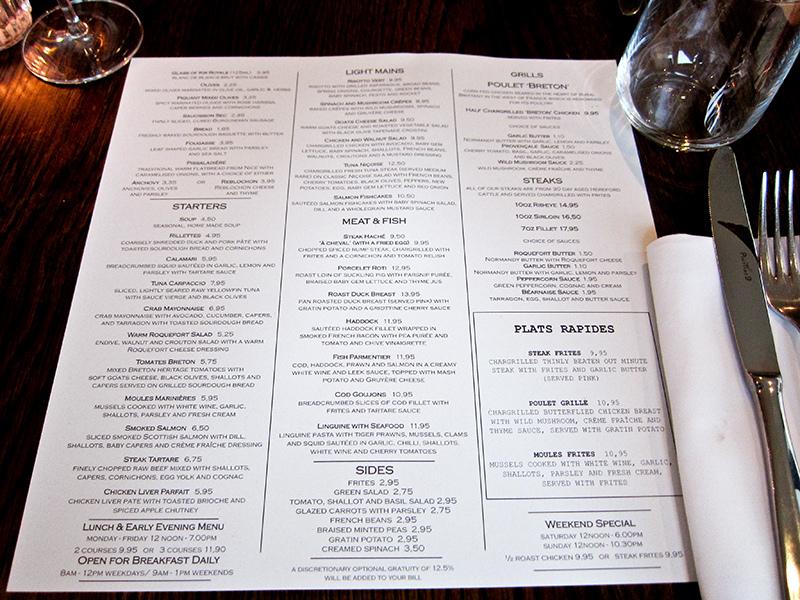 Cote Brasserie menu