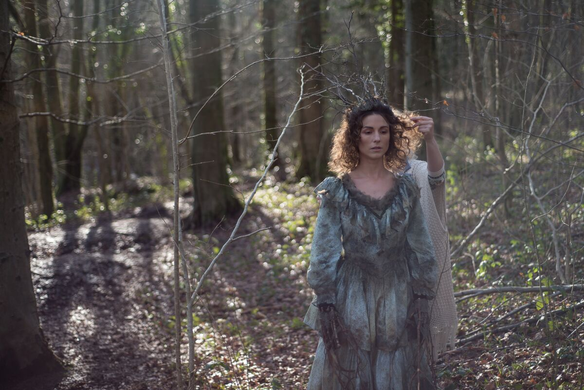 In Parenthesis photoshoot behind the scenes in the forest