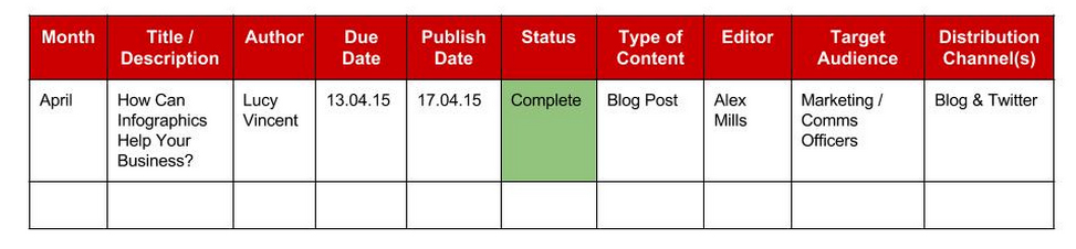 Burning Red Editorial Calendar Content Marketing Strategy Example