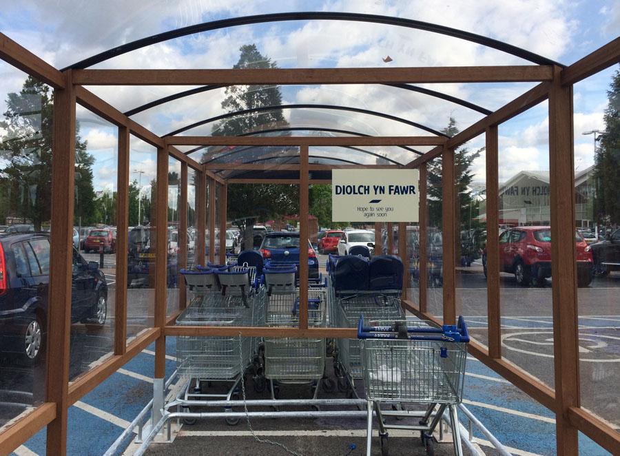 Tesco wood trolley area