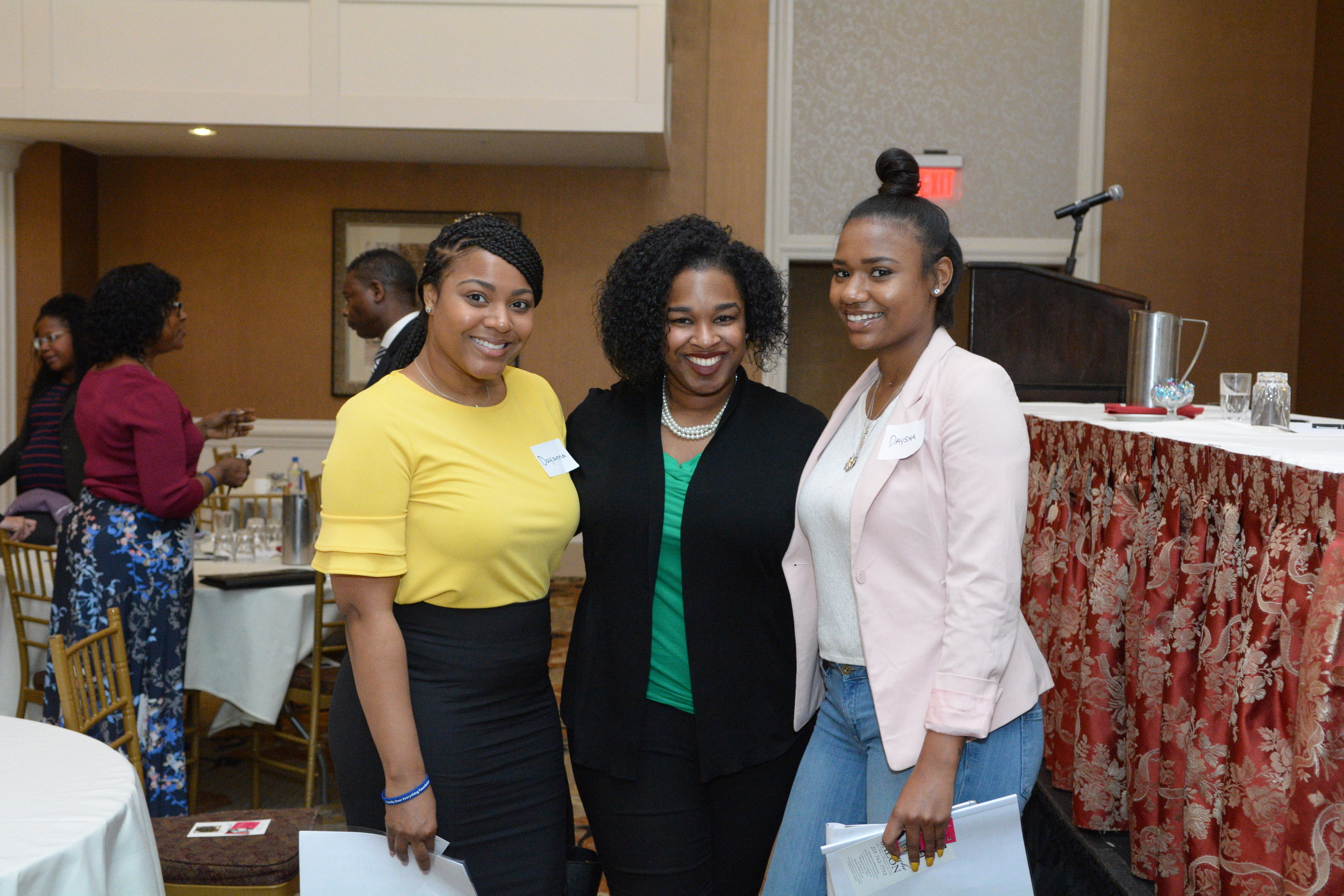 Summit attendees with panelist Jessica Green (center)