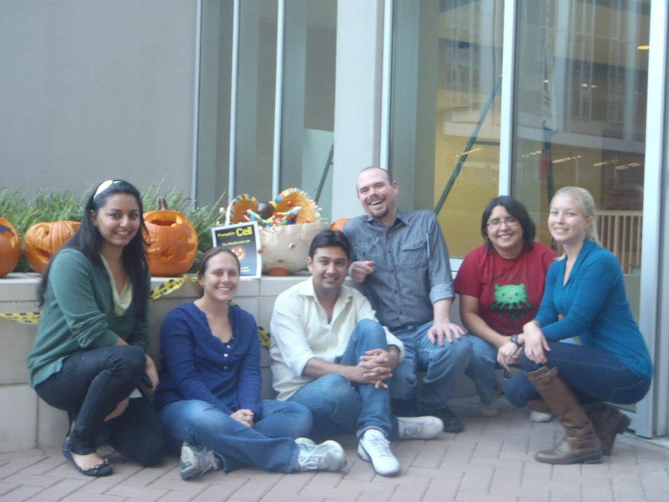 Westbrook lab members participating in the Association for Student Diversity's pumpkin contest.