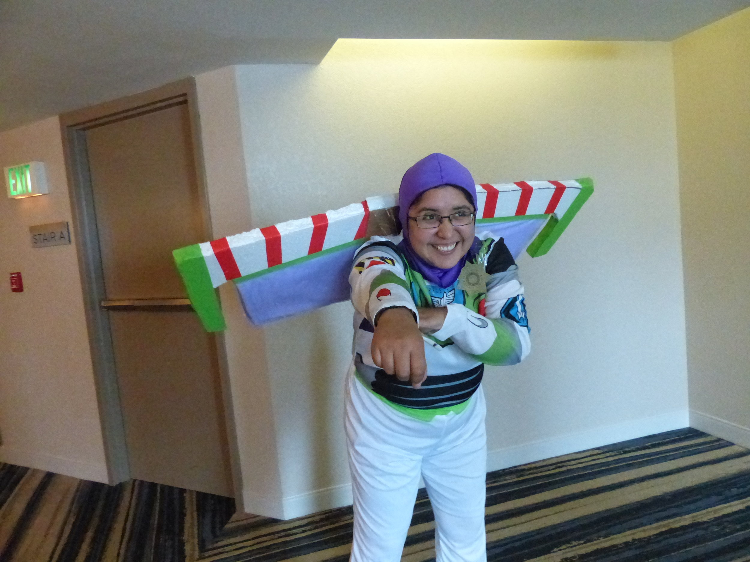 Rocio dressed as Buzz Lightyear for the Biochemistry Retreat costume contest (2016).
