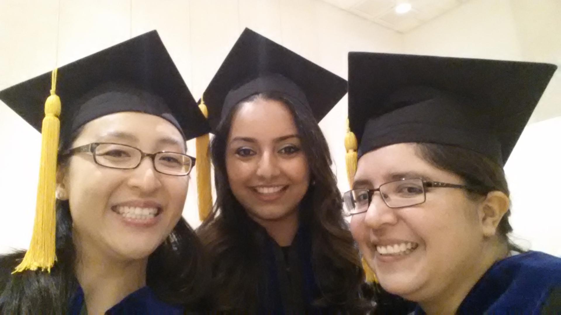 Tiffany, Amritha, and Rocio celebrating at the 2016 graduation program.