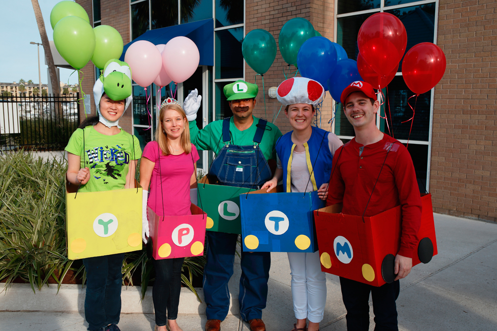 Westbrook Lab dressed up as Mario Kart Racers for the 2017 Biochemistry Retreat costume contest.