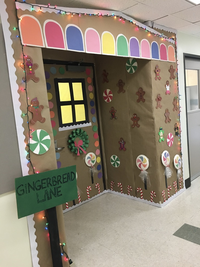 """Westbrook Lab entry for the 2017 Biochemistry Holiday Door Decorating Contest. """"Down Gingerbread Lane"""" won first prize!"""