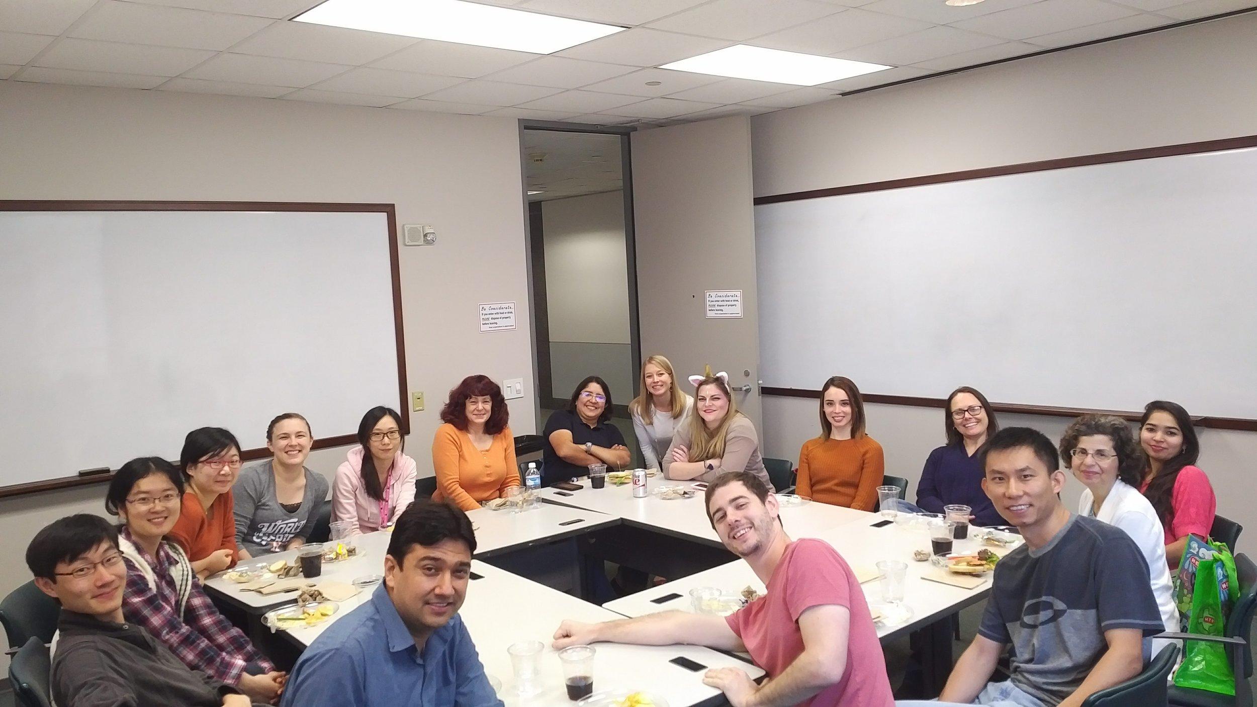 Lab lunch celebrating Sarah's new job at Castle Biosciences.