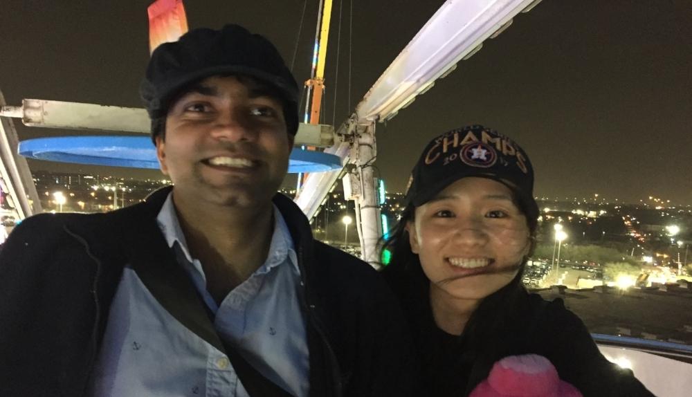 Jitendra and Hymein enjoying the Ferris Wheel at the 2018 Houston Rodeo.
