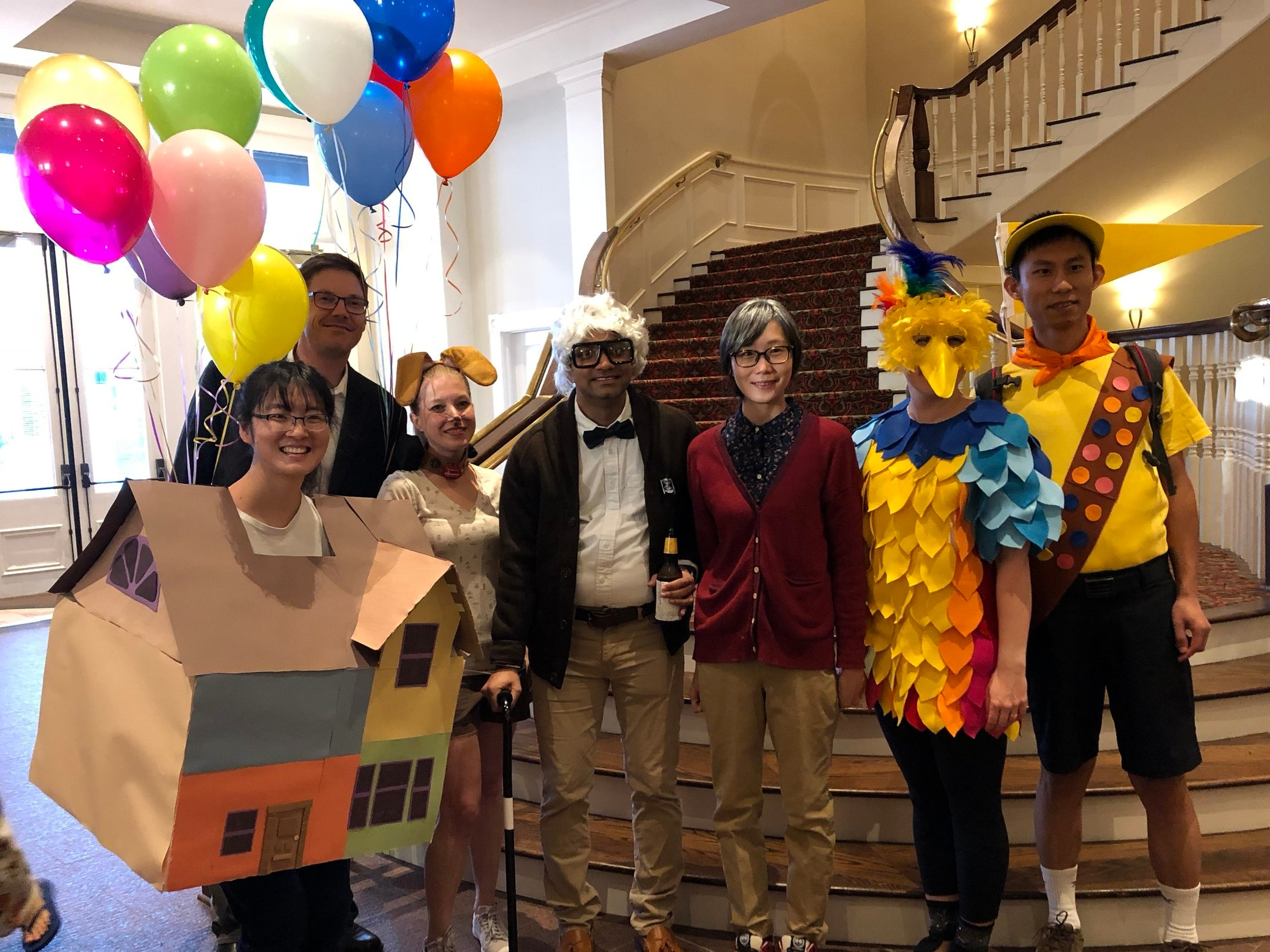 """Westbrook lab members dressed up as characters from the move """"UP"""" for the 2018 Biochemistry Retreat costume party."""