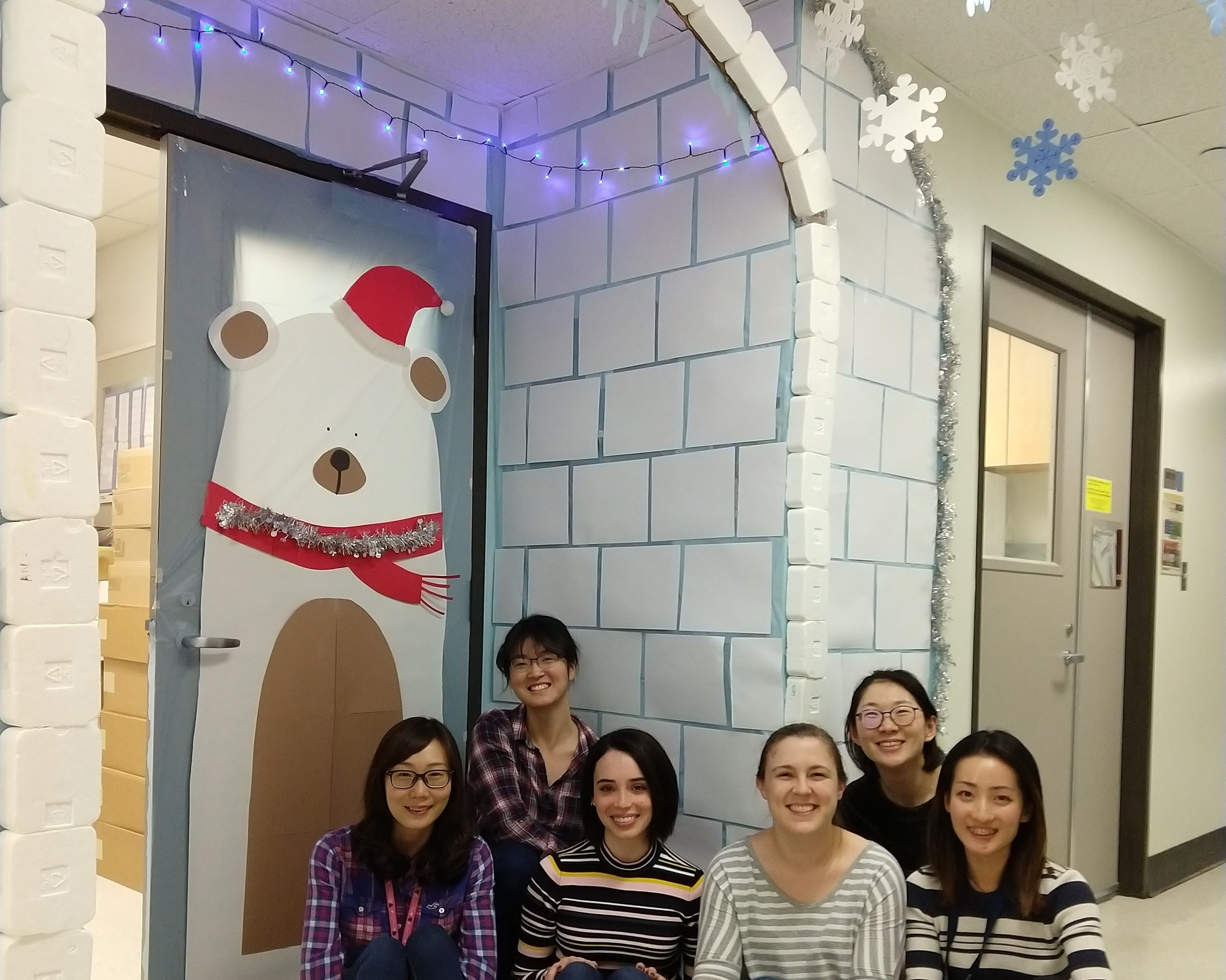 Westbrook lab ladies with the 2018 Holiday Door Decorating Contest entry.