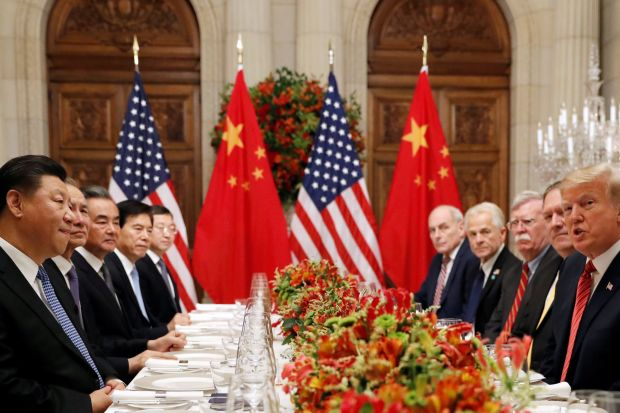 President Trump and administration officials attend a working dinner with Chinese President Xi Jinping in Buenos Aires. PHOTO: KEVIN LAMARQUE/REUTERS