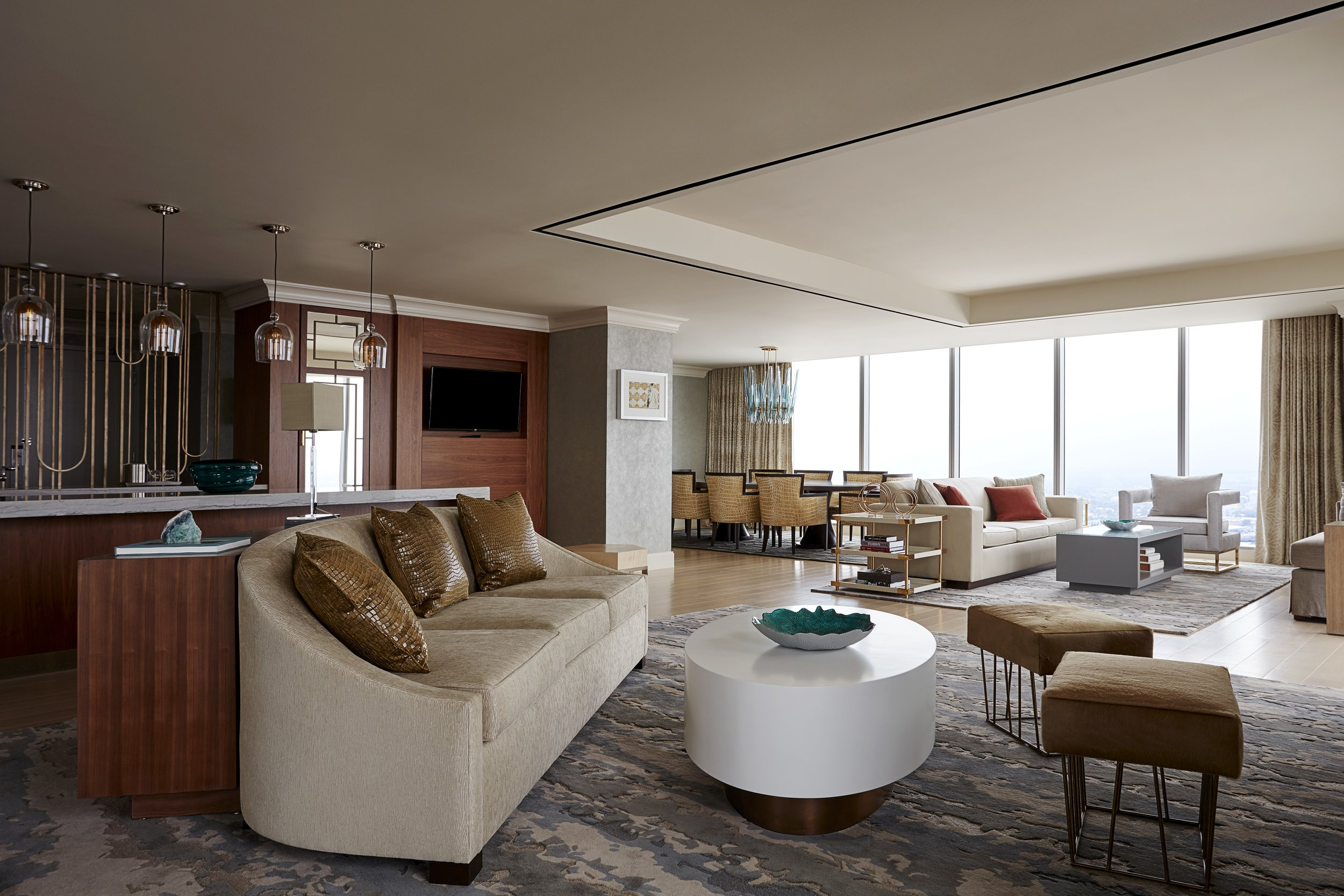 A presidential suite in the Marriott Marquis Houston.