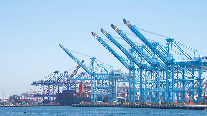 The Los Angeles-Long Beach port complex handled more than 38 percent of US containerized imports in 2018, according to PIERS, a JOC.com sister product within IHS Markit. Photo credit: Shutterstock.com.