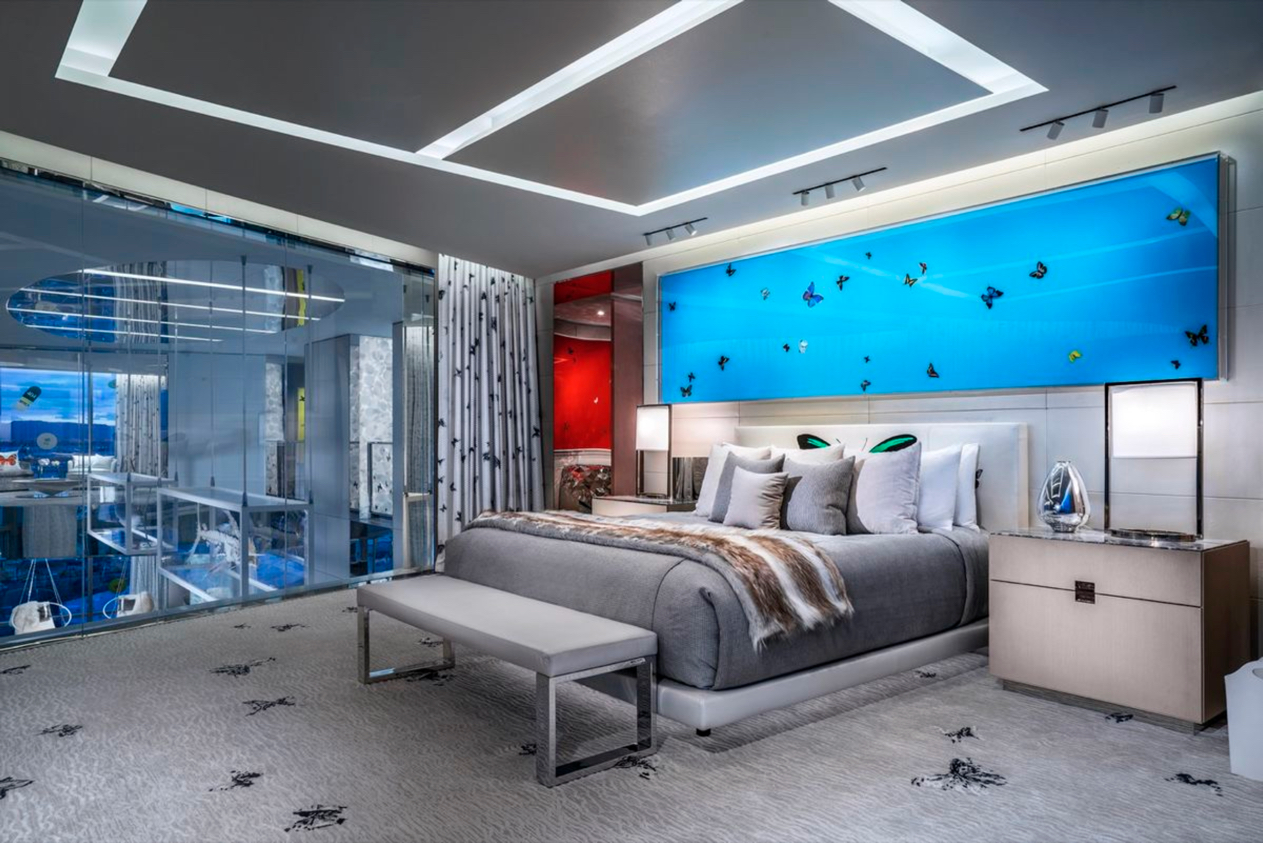 Bedroom of the Empathy Suite at Palms Casino Resort, Las Vegas. Designed by Bentel & Bentel and Damien Hirst featuring work by the artist. Image courtesy of Palms Casino Resort.