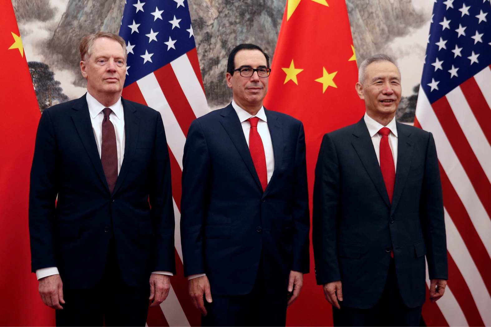 Vice Premier Liu He of China, right, will resume trade talks on Thursday in Washington with the Treasury secretary, Steven Mnuchin, center, and Robert Lighthizer, the United States trade representative. Credit Pool photo by New