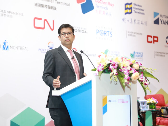 """""""The industry may not have to wait that long for a turnaround,"""" Parash Jain, global head of shipping and ports equity research at HSBC, told the TPM Asia Conference. Photo credit: JOC."""