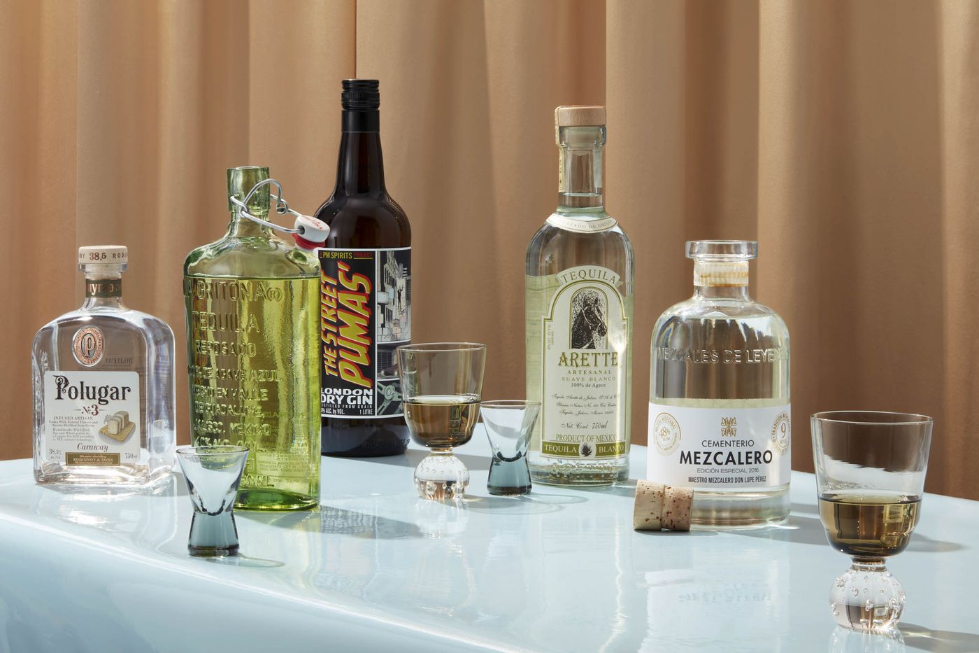 Polugar No. 3 vodka, La Gritona tequila, Street Pumas gin, Arette Artesenal Suave tequila,Mezcal de Leyenda Grandes Unicos.