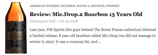 """""""The whiskey drinks beautifully without water, lush (but racy) on the palate."""" Rating: A - - Christopher Null, Drinkhacker"""