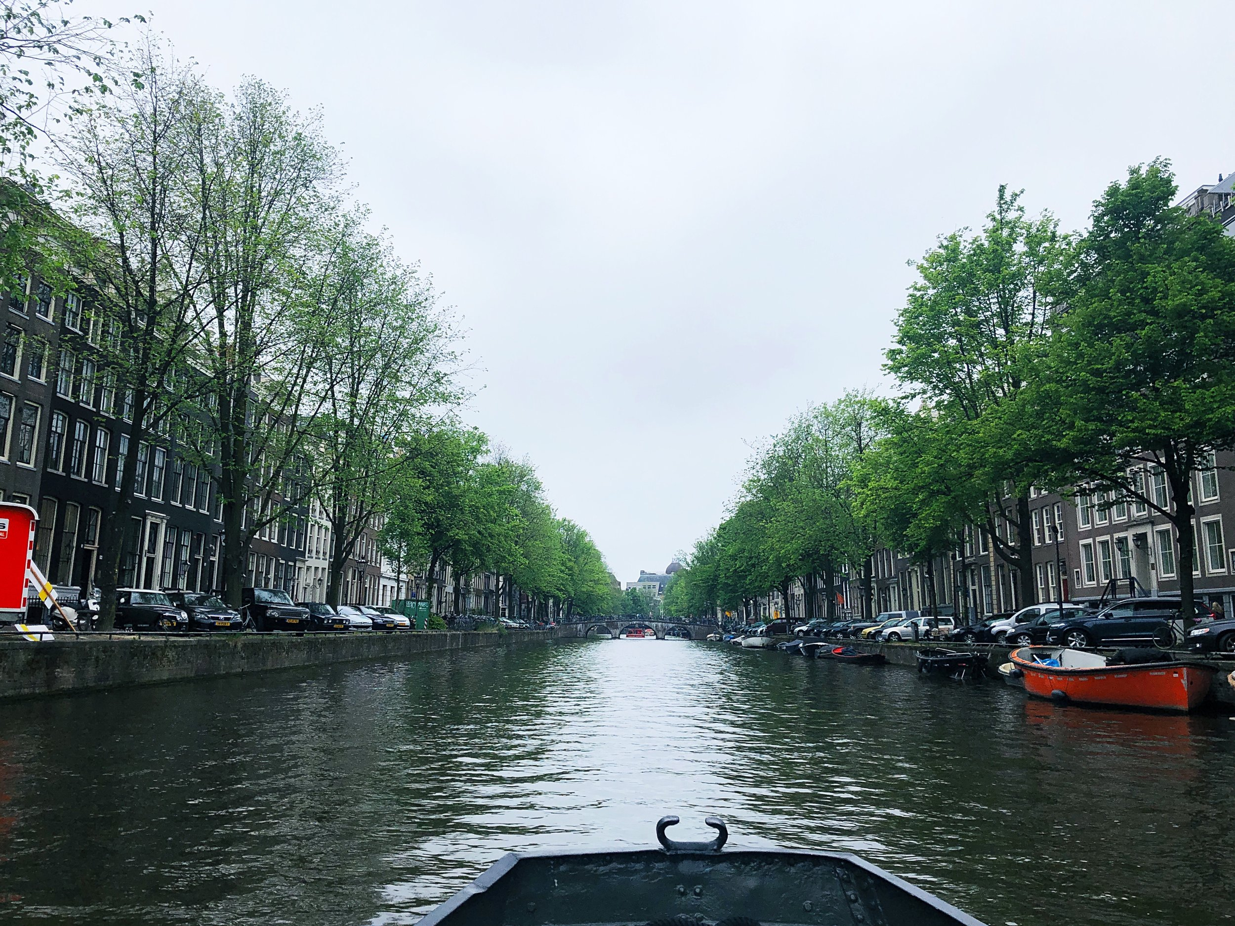 Boating around the canals of Amsterdam.