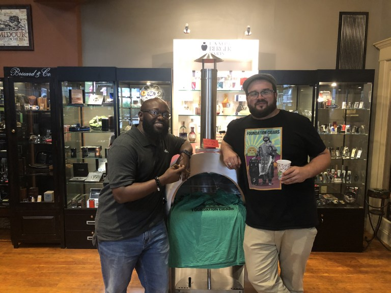 (r) Nick Mellilo of Foundation Cigar Co. (l) Justin Harris of Cigar Insight at The Humidour Cigar Shoppe in Cockeysville, MD.