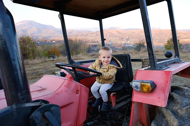 When a tractor is all you need to be happy. #optoutside #toddlerinnature #toddleroutside