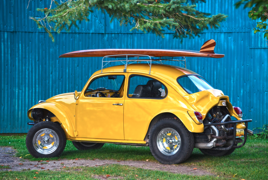 Classic VW Bug with Wooden Paddle Board