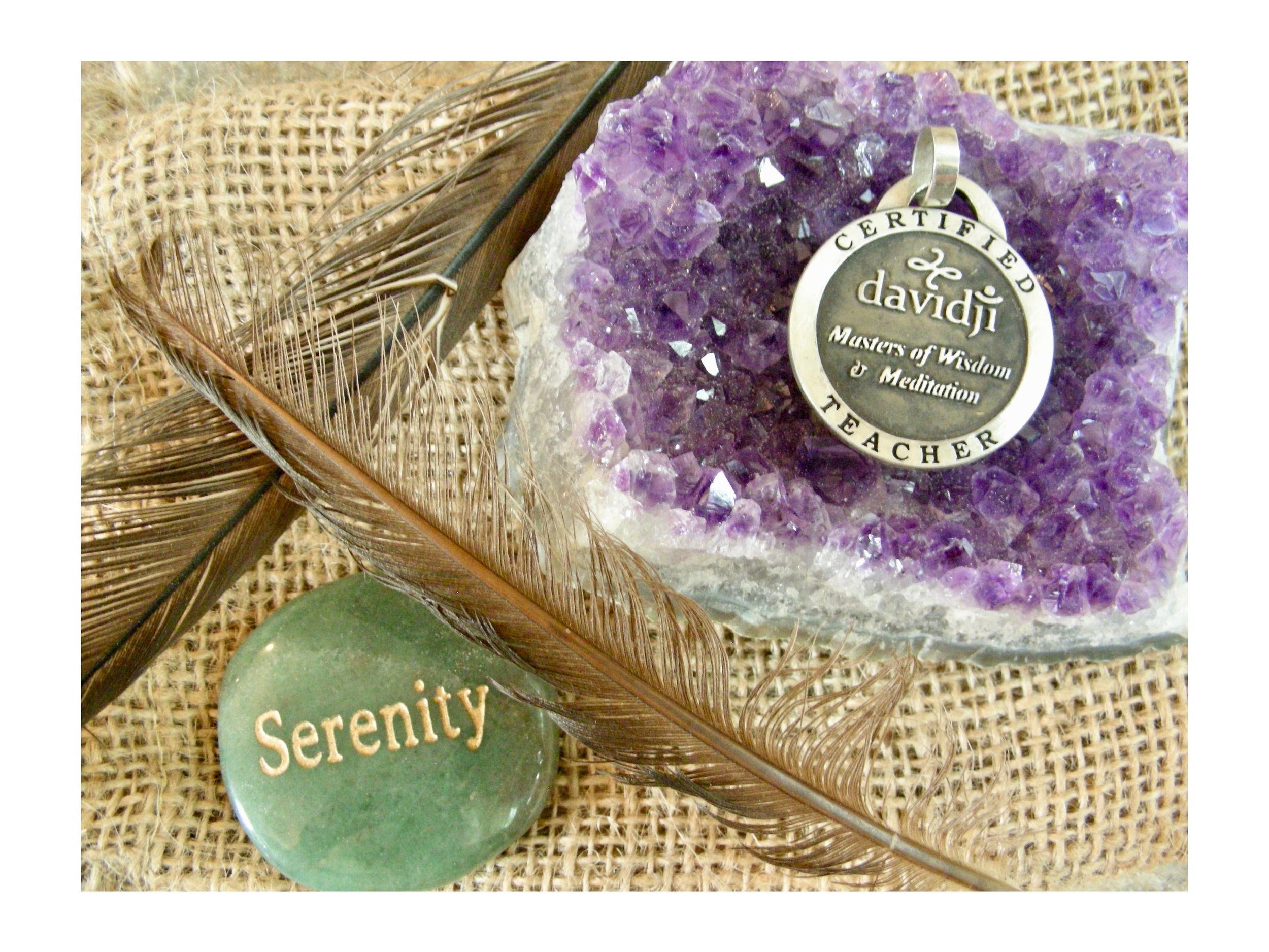 the medallion, feathers and amethyst stone are Prized reminders of my initial davidji meditation teacher training. The Serenity stone was given to me at the event in 2014 where the top photo was taken. Although I didn't feel it at the time, the lovely woman who gave it to me told me it was how I made her feel.