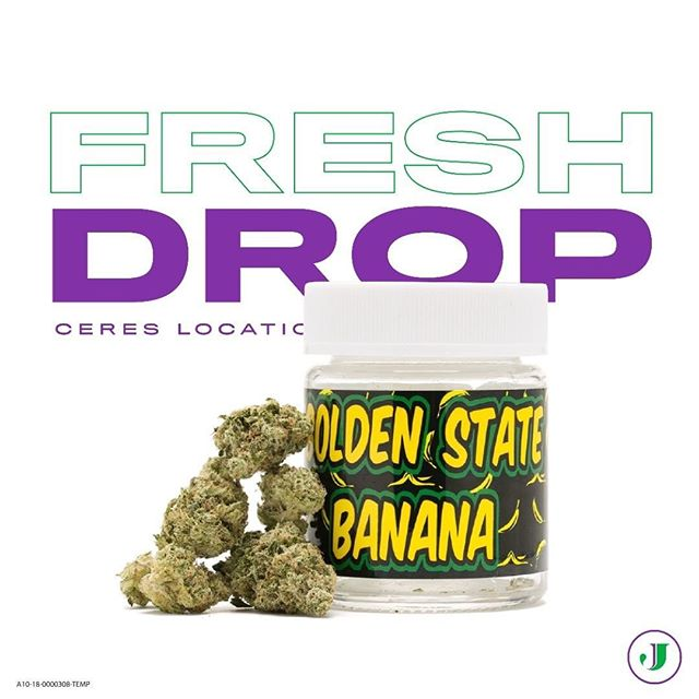 @the.jaydensjourney 🔥💜Fresh Drop💜🔥 Grab some @golden_state_banana at @the.jaydenjourney, Ceres location  and 🔥Light up our weekend! #TGIF #nowinstock #ceres - - Golden State Banana is the tropically scented byproduct of the knowledgeable cultivators at @synergy_cannabis and great genetics. A persuasive Indica dominant hybrid, One relaxing rip will help end a hectic work week on a HIGH not! - TRY IT TODAY! - - - #jaydensjourney #theresalwaysmoneyinthebananastand  #anotherdayanotherbanana  #goldenstatebanana #synergycannabisco  #weedmaps #hightimes - Jaydens Journey Open 9am-9pm