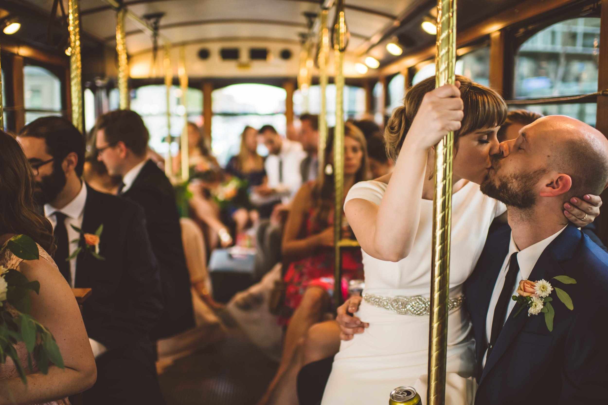 Secret kiss on the trolley