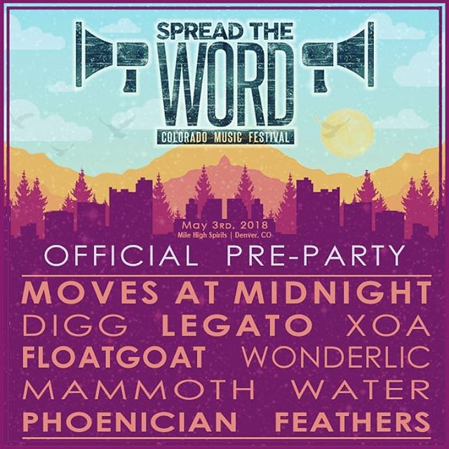 Can't wait for this Thursday! We hit the indoor stage at @milehighspirits at 9! @spreadthewordmusicfestival @phofeathers @mammoth_water_music @wonderlicband @floatgoatmusic @xoa_music @movesatmidnight