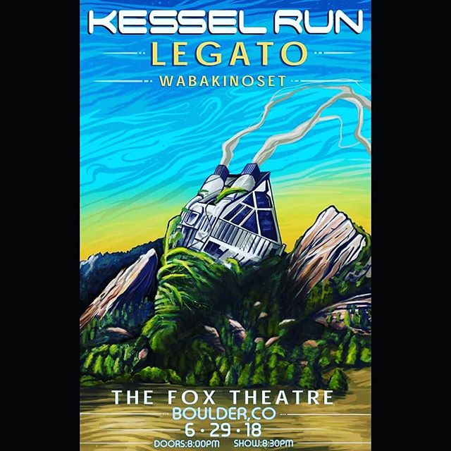 Gearing up for another epic @foxtheatreco show with our homies @kesselrunmusic and @wabakinoset! Holler at us for tix! @pat.mckinney with the dope art.
