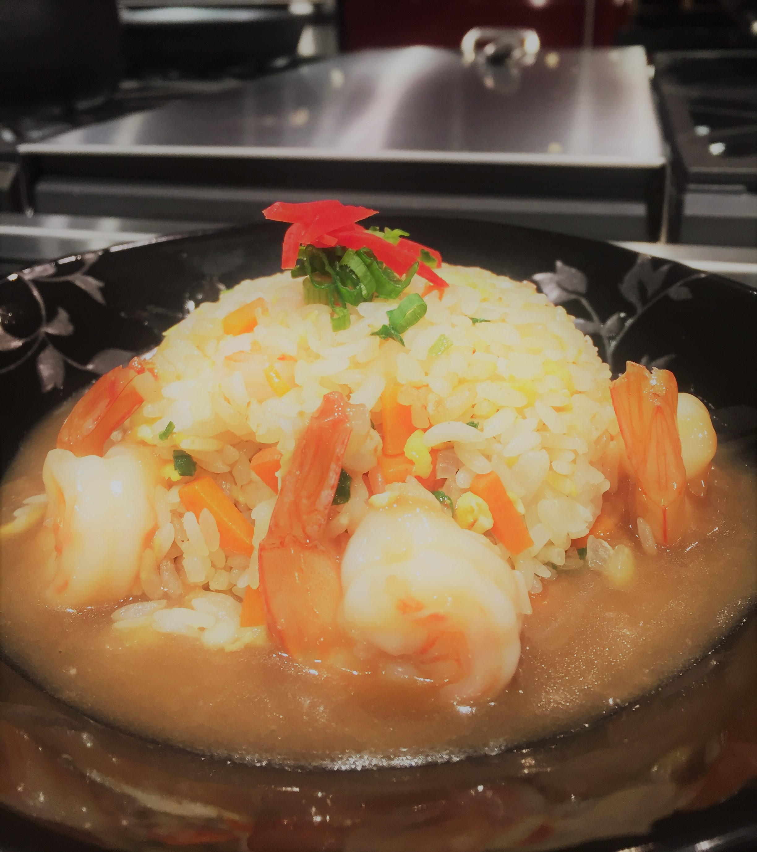 "Shrimp Fried Rice w/ ""Ankake"" (Thick Soup)"