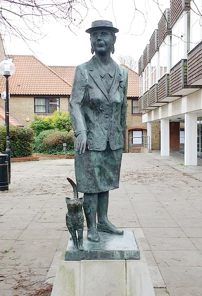 Statue of Sayers across from her home in Witham, UK