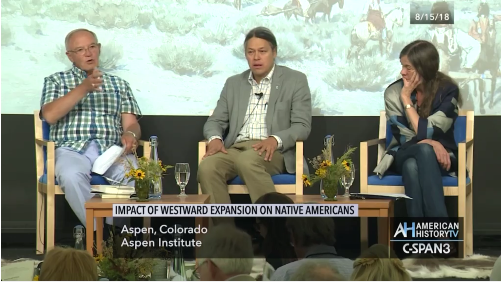 Terry Anderson moderates a panel featuring Yale University's Ned Blackhawk and the Center of the American West's Patricia Limerick.