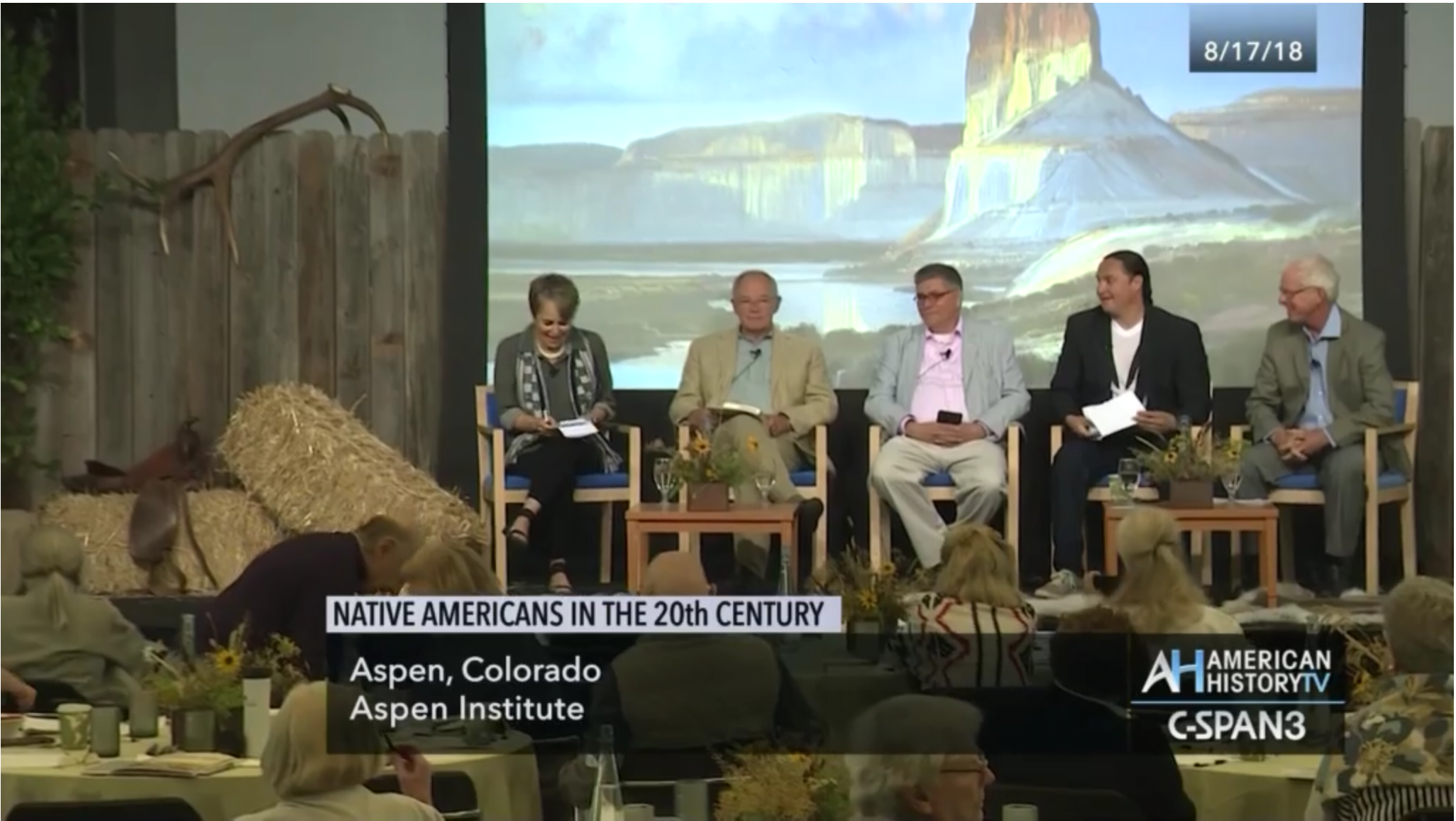 Martha Sandweiss moderates a panel with Terry Anderson, Mark Trahant, Sheldon Spotted Elk, and Mark Varien.
