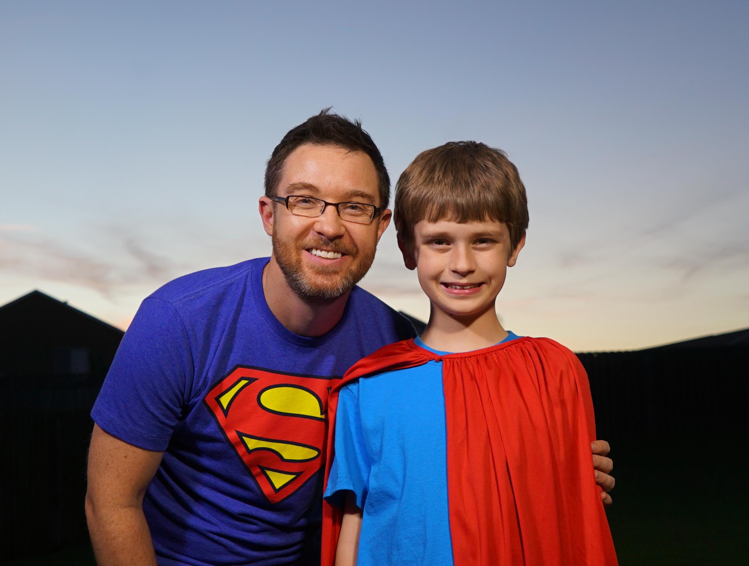 filmmaker Brett Culp with superkid.JPG