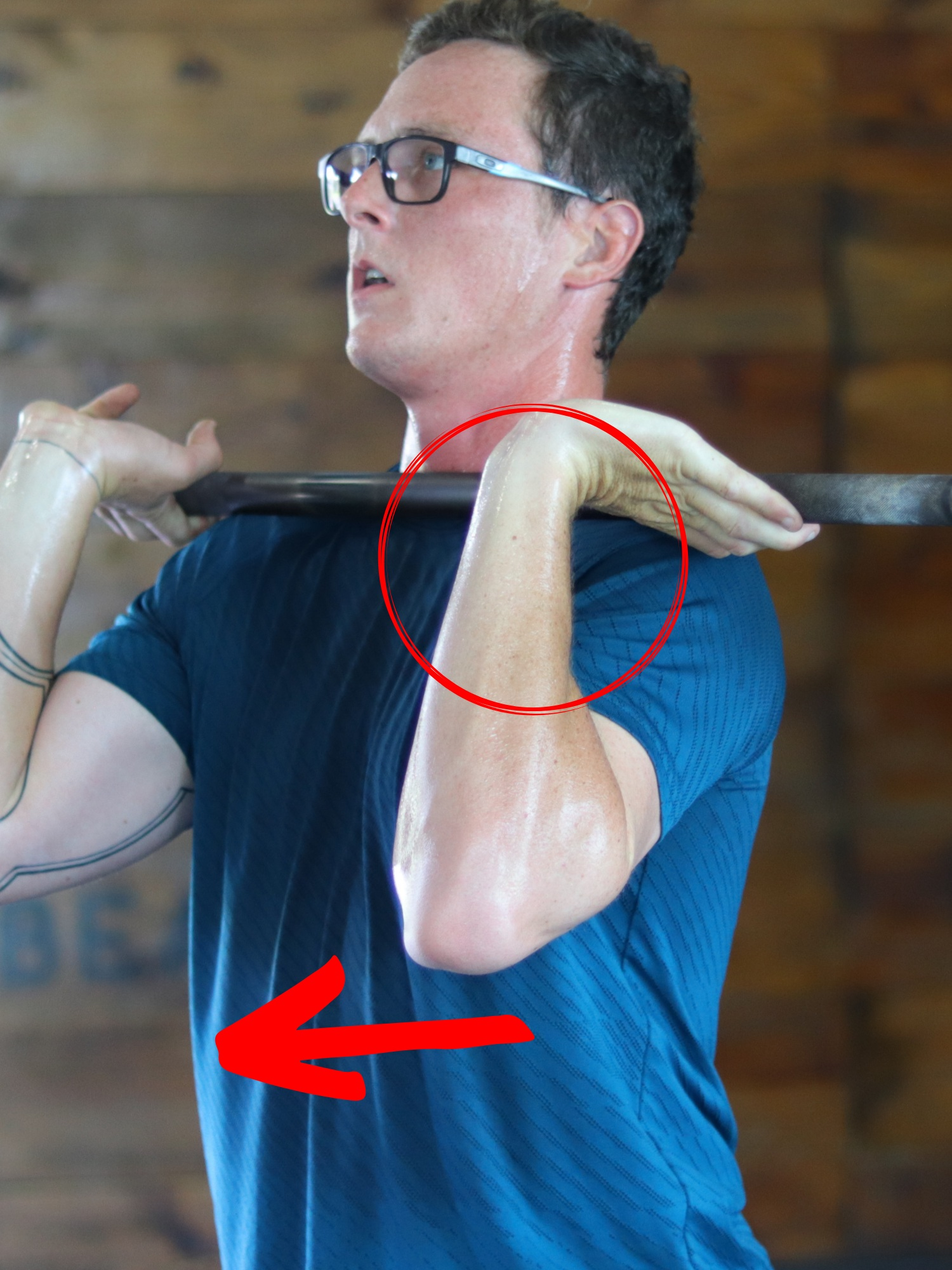 The culprit for most front rack position issues is a flared ribcage (especially on the left side). Tilt of the ribcage inhibits shoulder flexion (arm moving up) and external rotation (thumb turning toward the ceiling). This leaves the wrist as one of the only areas left to pick up the lack of range of motion. Repetitive movement will leave the joint overtaxed. -