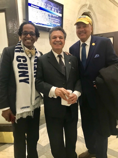 From left to right: NYS Assembly Member Al Taylor, NYS Assembly Member Felix Ortiz, NAACP NYS Conference 1st Vice President Geoffrey Eaton