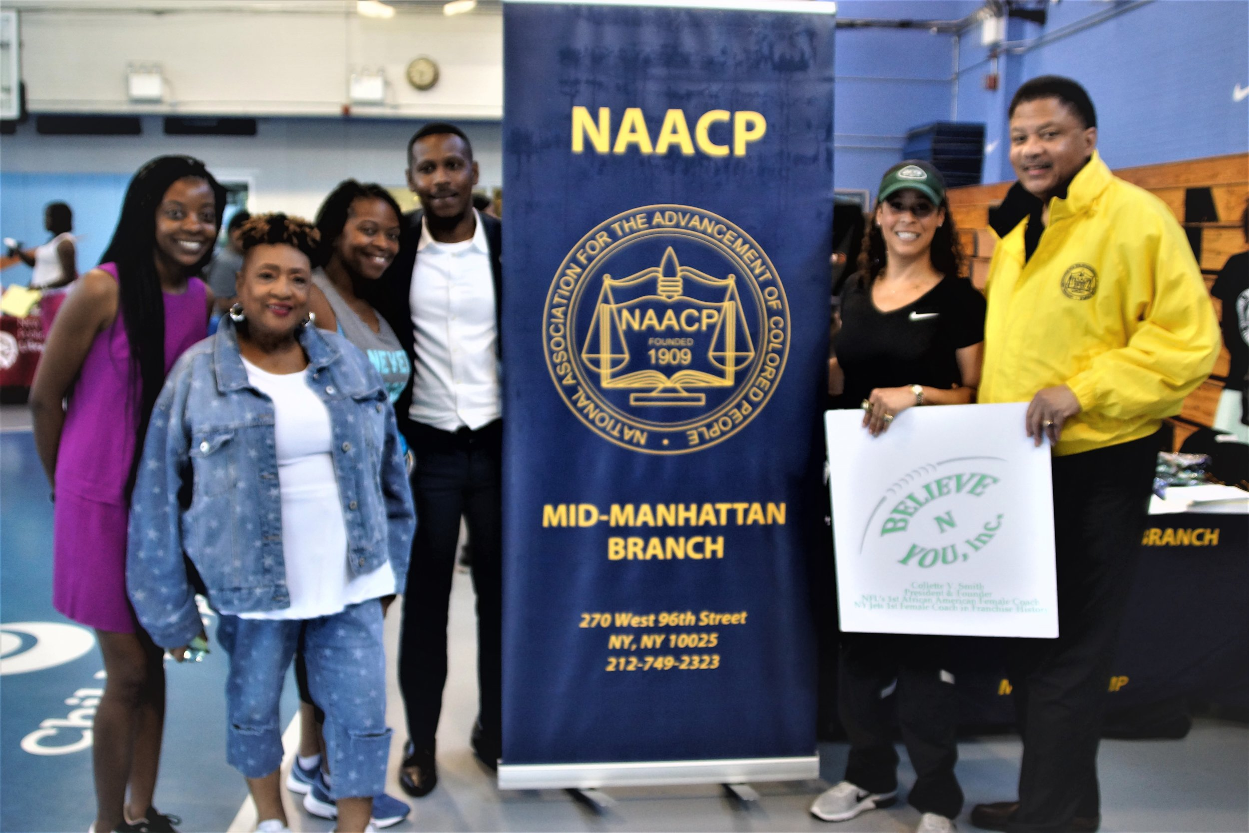 L-R; civic engagement chair Leilani Irvin, Harlem Mother SAVE FOUNDER Jackie Rowe-Adams, Community Board 10 chair Cicely Harris, Mayor Office of Community Affairs Remmy Salas, Coach Smith & President Eaton