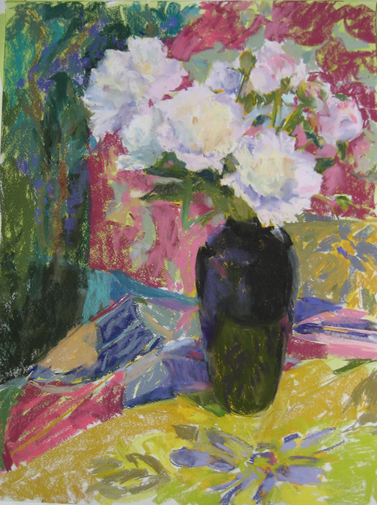 Black Vase Peonies