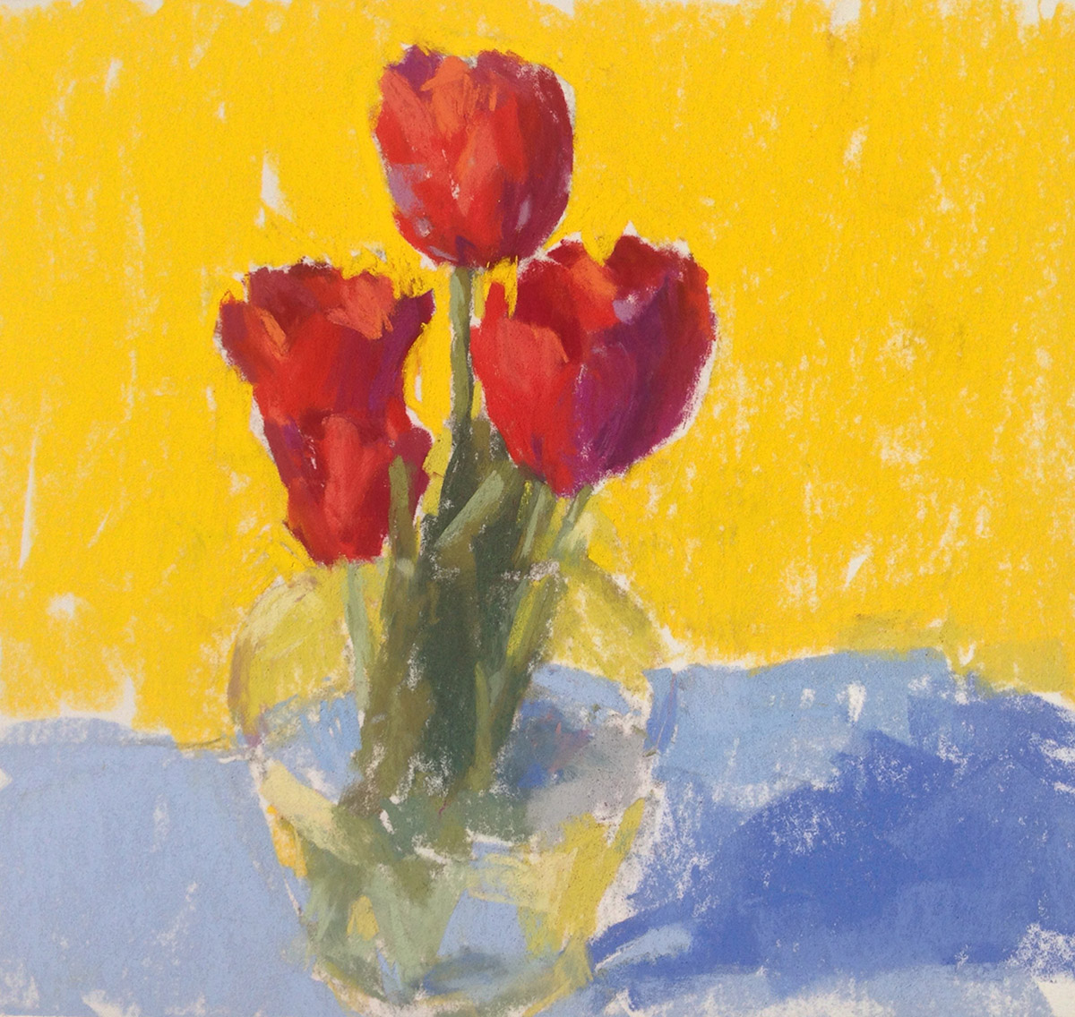 Red Tulips with Blue and Yellow